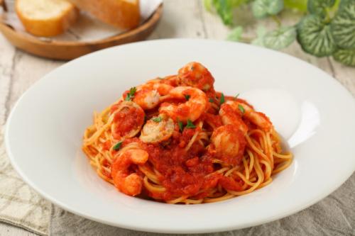 海老とホタテのトマトスパゲッティ