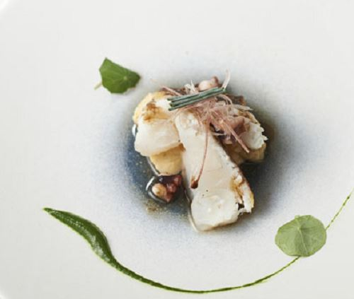 天然鯛のセミクルードとさくら卵の明石焼き風